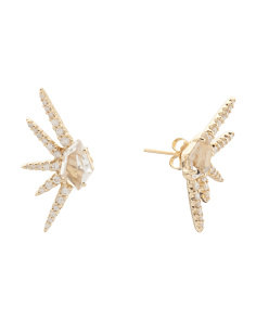 Made In Thailand 14k Gold Diamond And Quartz Earrings