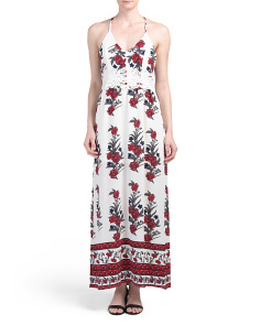 Juniors Crochet Waist Inset Printed Maxi Dress