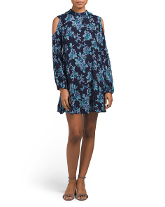 Juniors Cold Shoulder Printed Dress