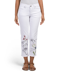 Floral Stencil Mid Rise Straight Leg Jeans