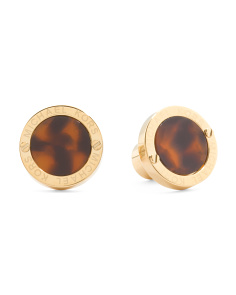 Tortoise And Gold Tone Stud Earrings