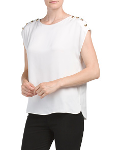 Made In Italy Solid Silk Blend Top