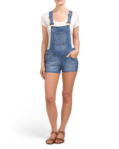 Juniors Medium Wash Short Overalls