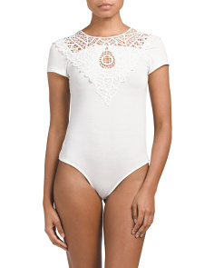 Juniors Bodysuit With Crochet Lace Front Detail