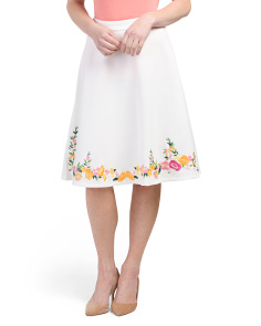 Embroidered Flare Scuba Skirt