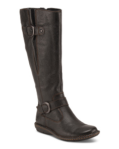 Wide Shaft Leather Boots With Buckles