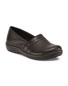 Wide Step In Leather Clogs