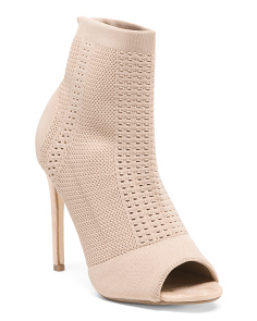 Peep Toe Perforated Booties