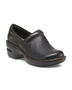 Peggy Wide Leather Clogs