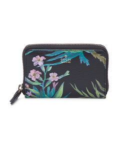 Made In Italy Tropical Print Leather Pouch