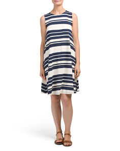 Sleeveless Striped Trapeze Dress