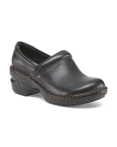 Wide Leather Clogs