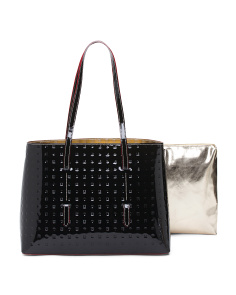 Made In Italy Patent Leather Tote With Pouch