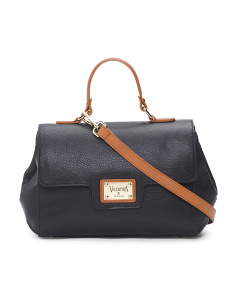 Made In Italy Leather Flap Satchel