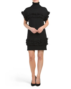Teegan Wool Fringe Sweater Dress