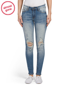 Juniors Stacked Button Seamed Skinny Jeans