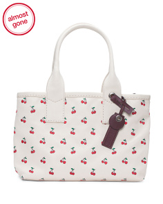 Embroidered Fruit Canvas Tote