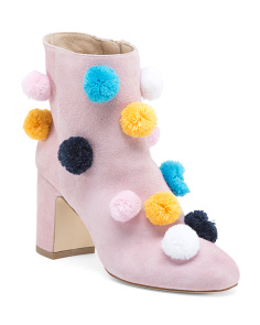 Made In Italy Pom Pom Suede Booties