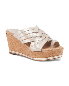 Cork Wedge Leather Slides