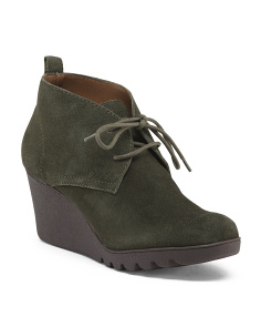 Lace Up Suede Wedge Shooties