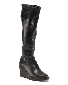 Leather High Shaft Wedge Boots