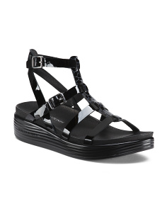 T-Strap Leather Foot Bed Sandals