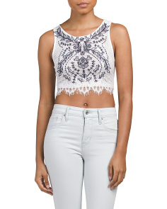 Juniors Embroidered Lace Crop Top