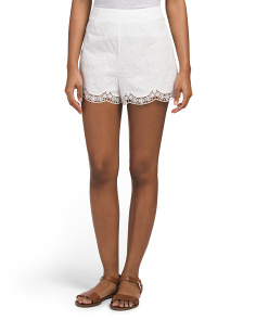 Juniors Scallop Embroidered Shorts