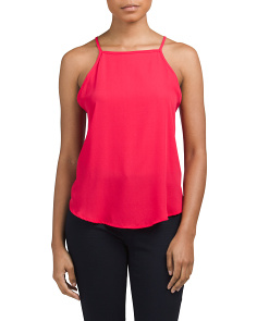 Juniors Woven High Neck Tank