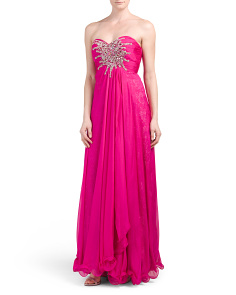 Strapless Beaded And Lace Silk Gown