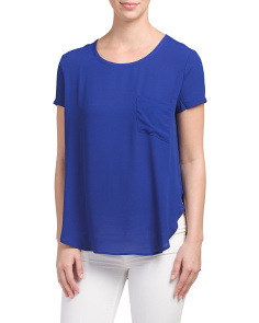 Juniors Short Sleeve Woven Top