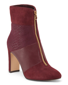 Suede And Leather Patchwork Boots