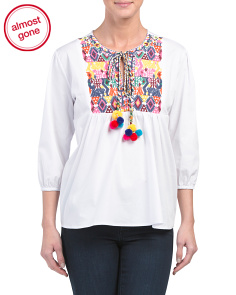 Made In USA Embroidered Moroccan Top