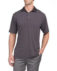 Textured Jersey Stripe Performance Polo