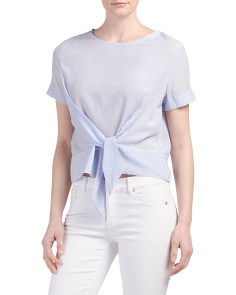 Juniors Knot Front Gauze Top