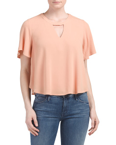 Juniors Flutter Sleeve Keyhole Top