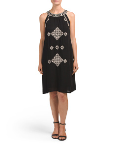 Sleeveless Embroidered Casual Dress