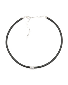 Made In Italy Sterling Silver Cubic Zirconia Leather Choker Necklace