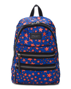 Flocked Stars Printed Biker Backpack