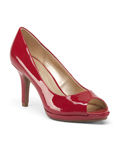 Mid Heel Peep Toe Pumps