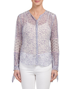 Silk Blend Long Sleeve Amanda Print Top