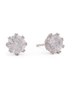 Sterling Silver 7mm Cubic Zirconia Lacey Stud Earrings