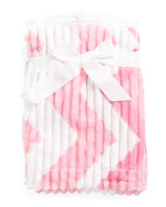 Kids Chevron Ribbed Micromink Throw