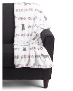 Who Rescued Who Plush Throw