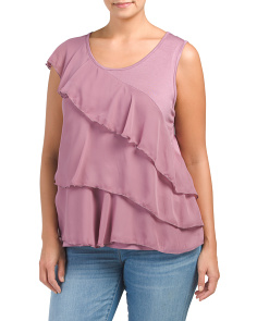 Plus Made In USA Ruffle Mixed Media Top