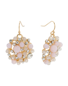 Beaded Dome Earrings In Shades Of Blush