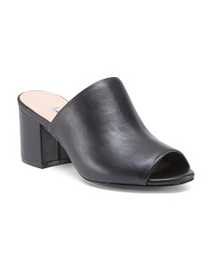 Block Heel Peep Toe Leather Mules
