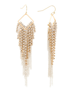 Crystal Embellished Chain Fringe Earrings