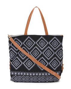 Reversible Embroidered Canvas Tote