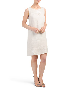 Made In Italy Linen Dress With Sequin Trim